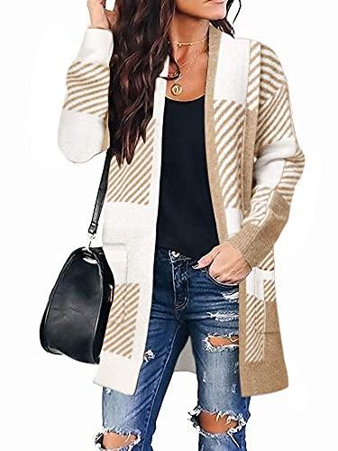 Womens & Ladys Fashion Plaid Manga Larga Cárdigan de Punto con Frente Abierto Abrigo de suéter de Punto