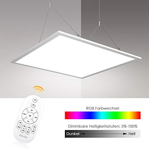 Albrillo RGB LED Paneel 62x62cm - 40W Dimbare plafondlamp met 7 lichtkleuren en neutraal wit 4000K, incl. Verstelbare touwophanging, montageklem, afstandsbediening en LED-transformator