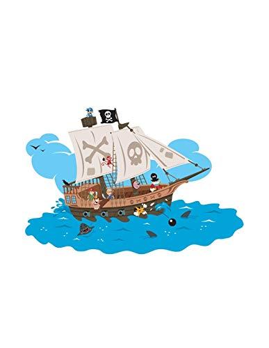 Sticker Garçon : Bateau Pirates - Format : 34 x 23 cm