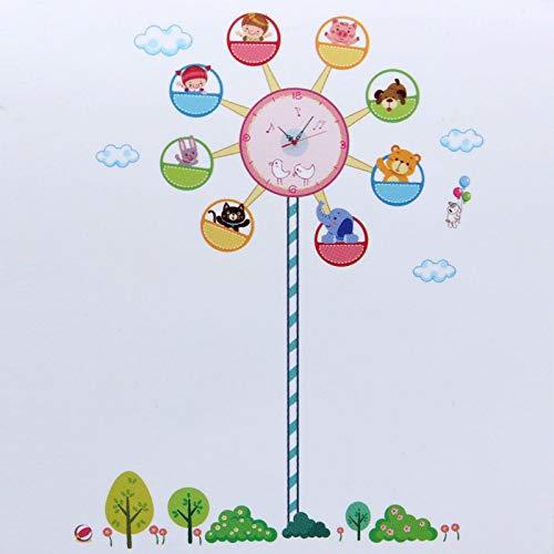 Belleashy - Reloj de pared para niños, adhesivos de pared, extraíble, pegatinas para habitación de los niños, decoración del profesor Easy Learn Time