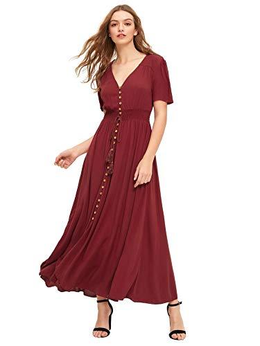 Milumia Women's Button Up Split Flowy Short Sleeve Plain A Line Party Maxi Dress Burgundy Small