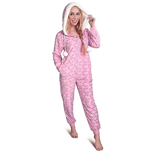 LittleForBig Super weicher Plüsch-Fleece-Schlafanzug für Erwachsene Sherpa-gefütterte Einteilige Pyjama Nachtwäsche mit Hoodie- Snuggle Bows Pattern XL