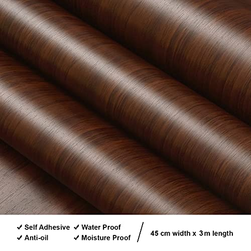 Wolpin Kitchen Wall Stickers Wood Wallpaper (45 x 300 cm) DIY PVC Shelf Liner, Furniture, Almirah, Table Top, Wardrobe, Kitchen Cupboard Decal, Mahogany Brown