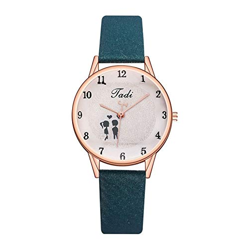 JZDH Women Watches Fashion arabic number watch for women Creative Dial Quartz Watch Casual Leather Exquisite Valentine's Day Gift Couple Watches Ladies Girls Casual Decorative Watches (Color : Green)