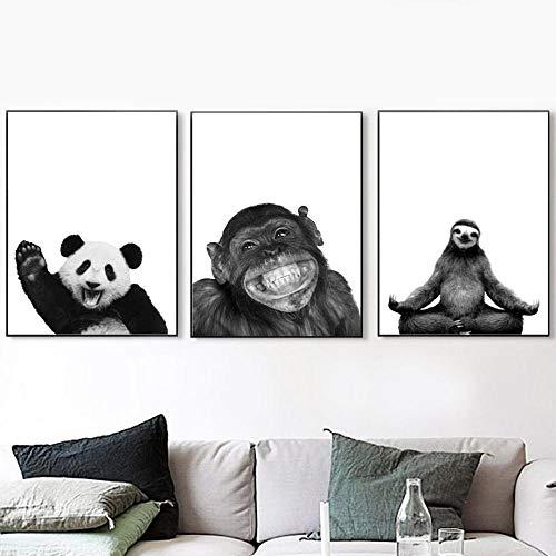 Animales Arte De Pared En Blanco Y Negro Monkey Sloth Panda Poster E Impresiones Cuadros Decoracion Salon Modernos Cuadros para Decoración De La Habitación De Los Niños 38x50cmx3 Sin Marco