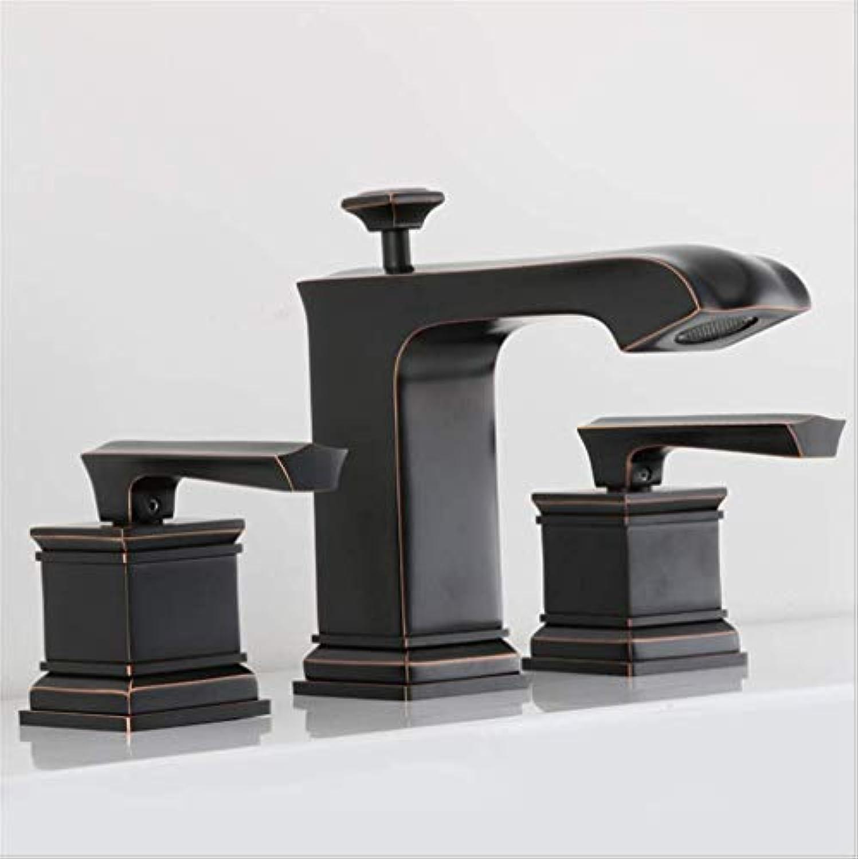 Waschtischarmaturendoppel-Badewanne Badewanne Wasserhahn, Alle Kupfer-Waschbecken, Kalt Und Warm Wasserhahn, Schwarze Backlack, Bad Und Wasserheizung.
