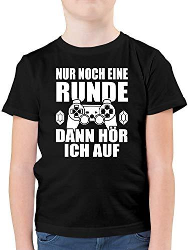 Sprüche Kind - Nur noch eine Runde - 152 (12/13 Jahre) - Schwarz - sprüche t-Shirt 164 - F130K - Kinder Tshirts und T-Shirt für Jungen