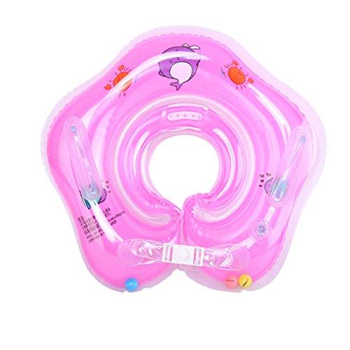 E-db Salvagente Collo Neonato - Gonfiabile Regolabile Doppio Airbag Salvagente Neonate per 1-18 Mesi Baby (Rosa)