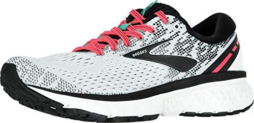 Brooks Womens Ghost 11 Running Shoe - White/Pink/Black - B - 8.5