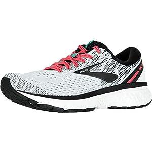 Brooks Womens Ghost 11 Running Shoe - White/Pink/Black - B - 9.0