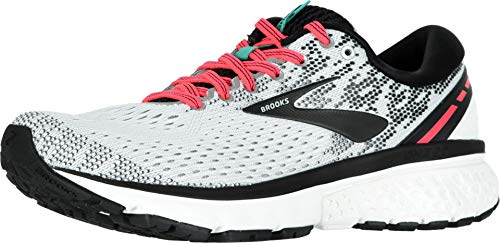 Brooks Womens Ghost 11 Running Shoe - White/Pink/Black - B - 8.0