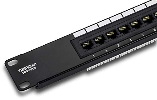 "TRENDnet 16-Port Cat6 Unshielded Patch Panel, TC-P16C6, Wallmount or Rackmount, 1U 19"" Cat3/Cat4/Cat5/Cat5e/Cat6 Compatible, 250Mhz Connection, Ethernet/Fast Ethernet/Gigabit Ethernet (1000Base-T)"
