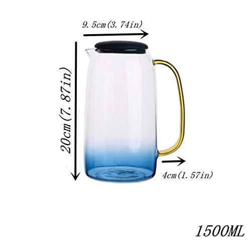 BBY - Juego de tetera de cristal con tapa y asa de color dorado para zumo de frutas, agua y café, tetera, diseño de flores, hervidor grande