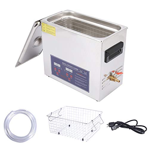 Professional Ultrasonic Cleaner 6L Stainless Steel with Digital Timer and Heater for Jewelry,Diamonds Glasses,Watch,Dentures, Electronics,Tools,Small Metal Parts Laboratory
