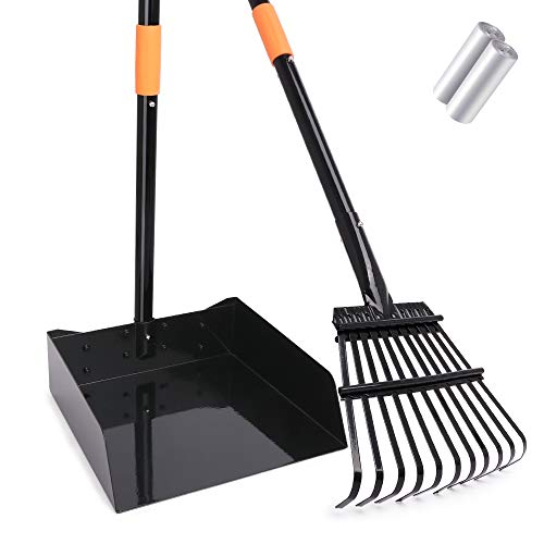 TNELTUEB Extra Large Metal Pooper Scooper, Dog Poop Scoopers Tray and Rake Set for Large and Small...