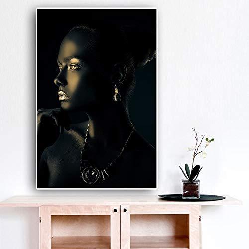 wZUN Retrato de Mujer Africana Negra artística Mujer Desnuda Lienzo Pintura Cartel e impresión Arte de Pared Imagen 60X90 Sin Marco
