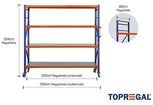 Fahrbares Lagerregal Industrieregal fahrbar Schwerlastregal Kommissionierwagen 500kg Fachlast B230xH204xT50cm