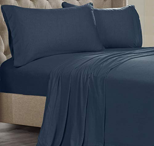 Posh Home Jersey Knit Ultra Soft Lightweight Cotton T-Shirt Comfortable Breathable Cooling Cozy Unisex All-Season Bed Sheet Set Easy Care (Queen, Navy)