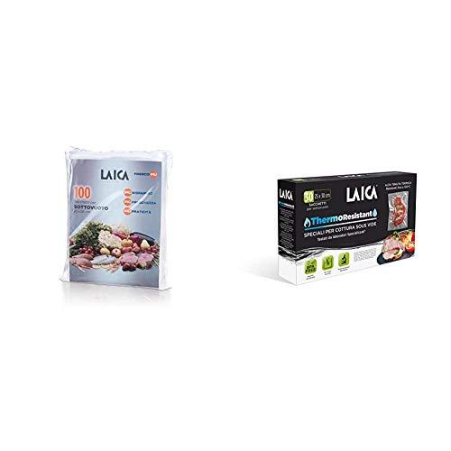 Laica VT3501 Confezione da 100 Sacchetti sottovuoto per alimenti Formato 20 x 28 cm & TR1000 Sacchetti Sottovuoto per Cottura Sous Vide e Conservazione Alimenti, Plastica
