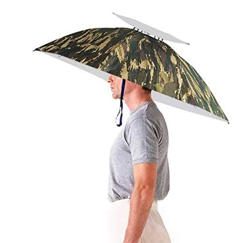 "Luwint 36"" Diameter Adjustable Fishing Gardening Folding Umbrella Hat Headwear (Camouflage)"