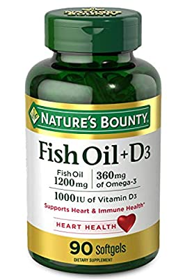 Fish Oil plus Vitamin D3 by Nature's Bounty, Contains Omega 3, Immune Support & Supports Heart Health, 1200mg Fish Oil, 360mg Omega 3, 1000IU Vitamin D3, 90 Softgels