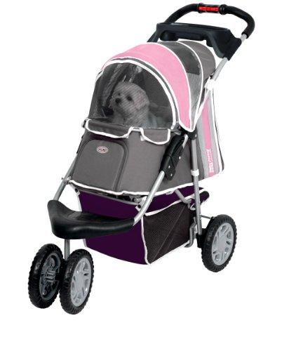 InnoPet Hundebuggy Hundewagen rosa stabil robust 'First Class' - mit einer Hand klappbar