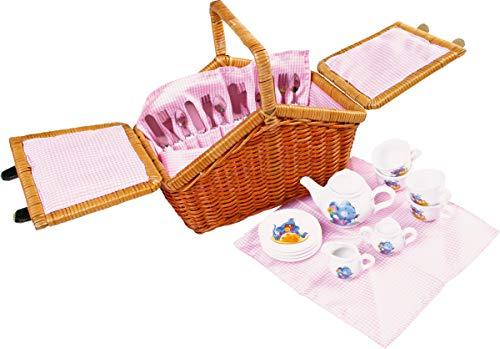 """Small Foot by Legler 2020976 Picknickkorb """"Romantik"""", ein praktischer Weidenkorb mit stabilem Tragegriff, für 4 Personen, mit allen Utensilien für ein traumhaftes Picknick im Freien, im kindgerechten Design mit niedlichen Mäusemotiven"""