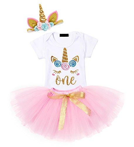 AmzBarley Infant Newborn Mädchen 1-2 Jahre Kleider Geburtstag Party 3 Stück Outfits Strampler + Tutu Kleid + Stirnband, Romper020, 1 Jahr