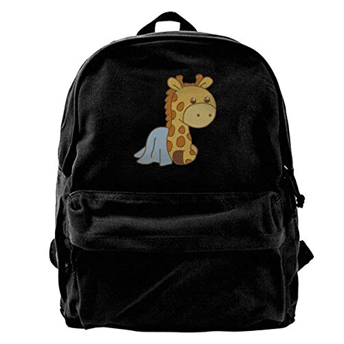 Yuanmeiju School Travel Backpack, Classic Canvas Backpack Cute Giraffe Unique Print Style,Fits 14 Inch Laptop,Durable,Black
