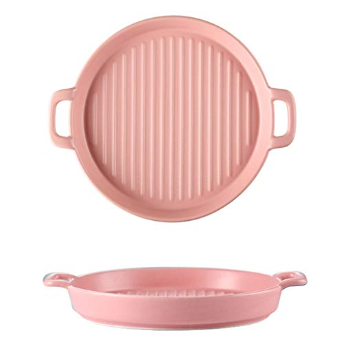 Grill Pans Rond Bakplaat, Huishoudelijke Keramische Grill Pannen, 8-inch Dubbele Handvat Gestreepte Grill Pans