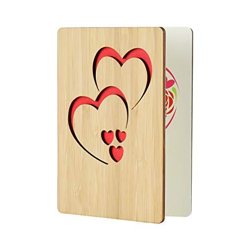 EKKONG Gefertigte Bambuskarte Beschreibbare mit Doppeltes Herz Geschenk für jeden Anlass - Grußkarte für Hochzeitstag, Geburtstag, Jubiläum Karte