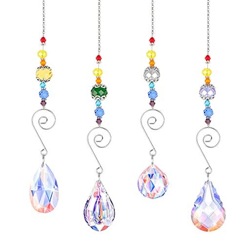Kristall Anhänger Deko 4 Stück Kristall Regenbogen Sonnenfänger Kristallglaskugel Prisma Anhänger Deko für Zuhause, Fenster, Garten Dekoration
