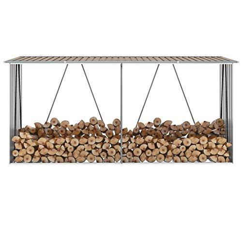 Extaum Galvanised Steel Log Store / Storage Shed 330 x 84 x 152 cm Brown