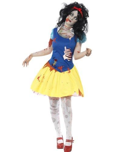 Smiffys Disfraz de blancazombi, Azul y Amarillo, con Vestido, Dibujo de látex en el pech