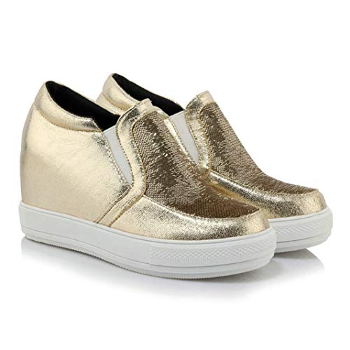 CYBLING Women's Fashion Platform Glitter Sequins Slip On Loafers Comfortable Hidden Heel Wedges Sneakers Casual Shoes Gold