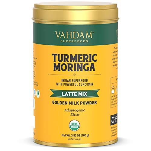 VAHDAM, BIO Kurkuma + Moringa Latte, 40 Tassen (100g) | Goldene Milch Pulver mit kräftigem Curcumin | Kurkumapulver + Moringa | Kurkuma Latte | Golden Milk | Heiß oder gefroren brauen