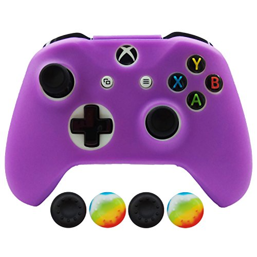 Hikfly Silicona Controlador Cubrir Piel Protector Caso Placas Frontales Kits con 4pcs Thumb Grips Kit para Xbox One S / Xbox One X Controller(Púrpura)