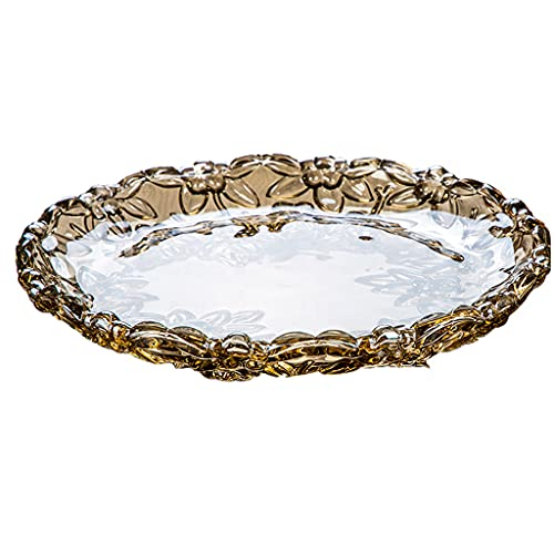 Large Fruit Plate Creative Crystal Lead-free Glass Fruit Plates Durable, Reusable For Home Decor(Size:31CM,Color:Coffee gold)