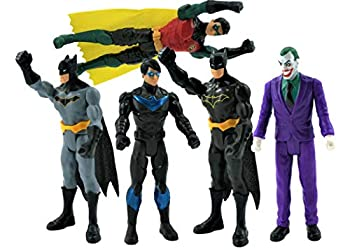Batman Missions DC 6 Inch Action Figures | 5 Pack Includes The Joker Grey Suit Batman Black Suit Batman Robin and Nightwing | 5 Point Articulation