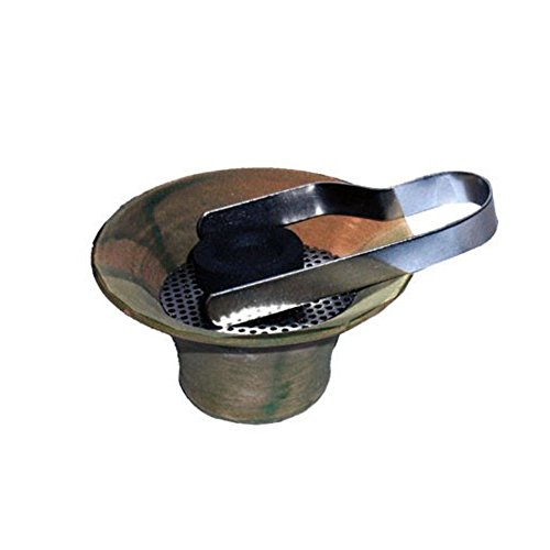 Encensoir en terre cuite en vert antique, insert en acier inoxidable et pince à charbon inclus- stable et récipient adéquat pour la fumigation, Ø env. 10 cm / Hauteur env. 5,7 cm