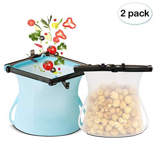 EXTSUD Lebensmittel Beutel 2 Stücke Silikon Beutel Küche Beutel wiederverwendbare Aufbewahrungsbehälter Beutel zur Aufbewahrung von Lebensmitteln für Obst Gemüse Fisch Fleisch Getränke
