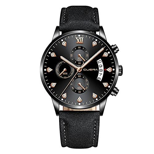 KLFJFD Reloj de cuarzo resistente al agua con calendario multifuncional para hombre, cronógrafo, deportes de negocios, reloj de regalo con cinturón de escala de diamantes de imitación informal a la mo
