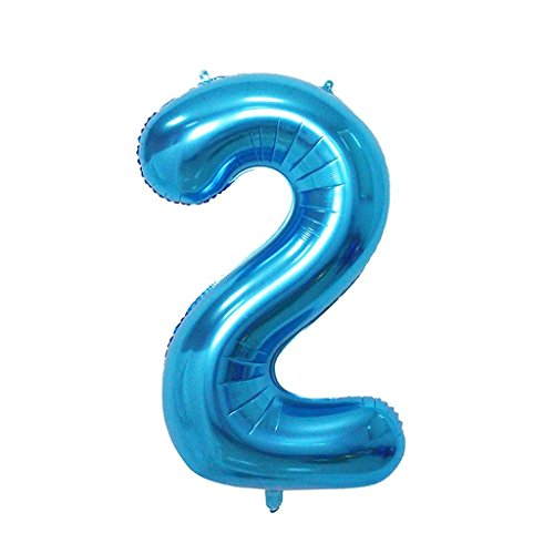 2 Number Balloon Blue Big Number Balloons 40 Inch kit for Happy Birthday Party Decorations Foil Mylar Helium Baby Shower