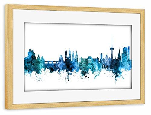 artboxONE Poster mit Rahmen Kiefer 60x40 cm Koblenz Germany Skyline Blue von Michael Tompsett - gerahmtes Poster