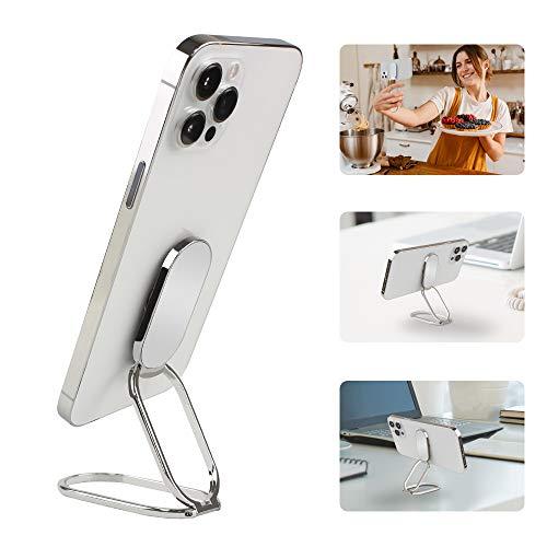APEKX Soporte de anillo para teléfono celular, rotación de 360 ° y agarre de teléfono de metal con tapa de 180 ° compatible con Android y iPhone, color plateado