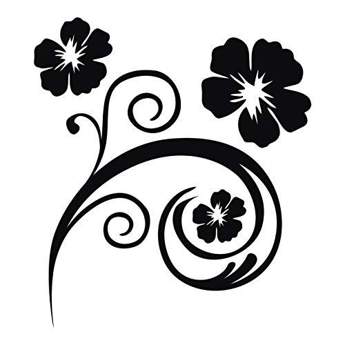 kleb-Drauf® | 1 Blumenranke | Schwarz - matt | Wandtattoo Wandaufkleber Wandsticker Aufkleber Sticker | Wohnzimmer Schlafzimmer Kinderzimmer Küche Bad | Deko Wände Glas Fenster Tür Fliese