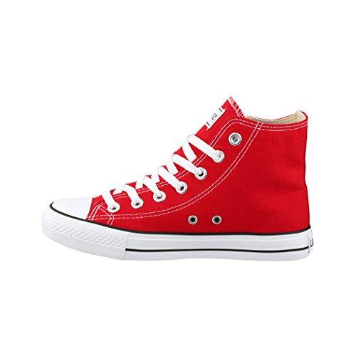 Elara Zapatillas de Deporte Unisex Zapatos Deportivos High Top Chunkyrayan Rojo 014-A-Rot2-41