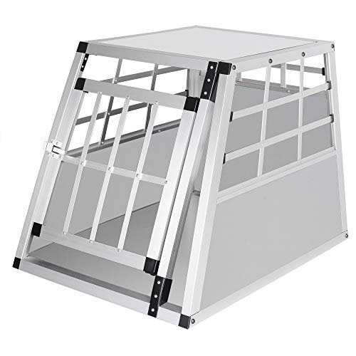 ELIGHTRY Reisebox Hundebox Autobox Aluminium Hundetransportbox Weiß