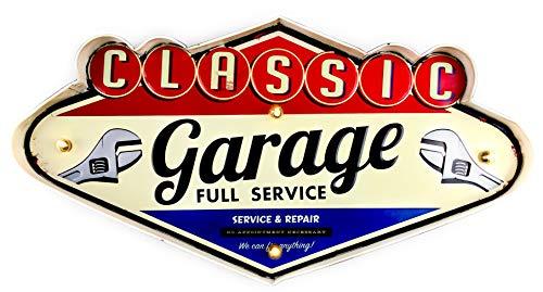 DiiliHiiri Cartel Retro Luminoso Garage Route 66 Estilo Vintage Letrero Metálico Artesania Accesorios para Decoración Hogar de Años 50 Cochera Abierto 24h