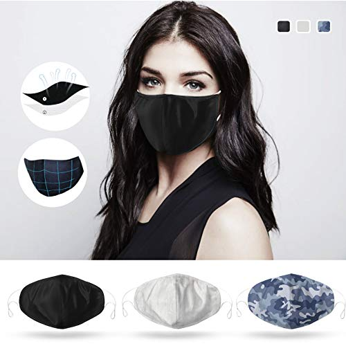 DDY (USA in Stock) Reusable Cotton Anti Dust Face Mouth for Cycling Camping Travel Cloth (3PCS-MixColorCotton)
